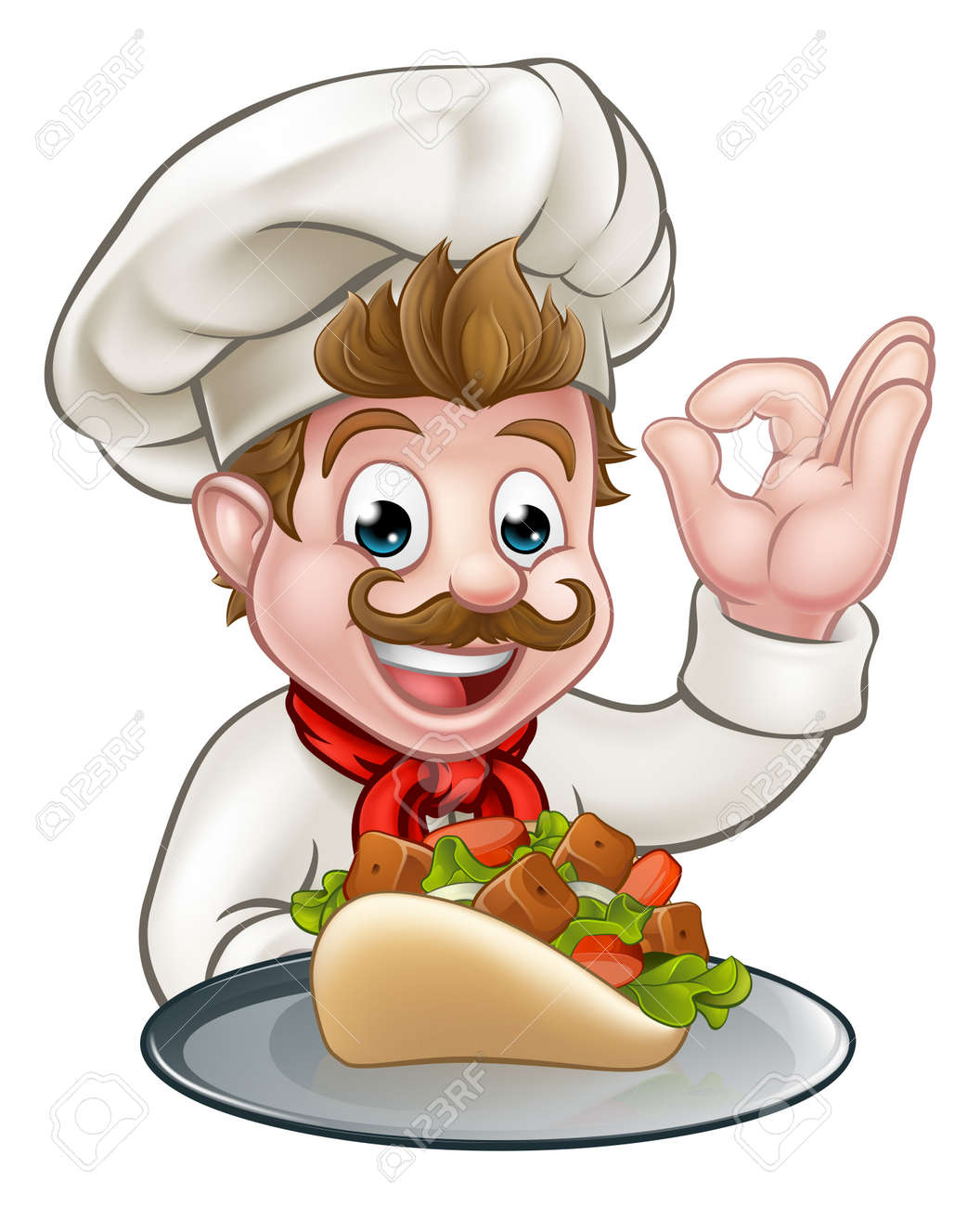 Cartoon Chef With Kebab Stock Photo Picture And Royalty Free Image Image 88767949