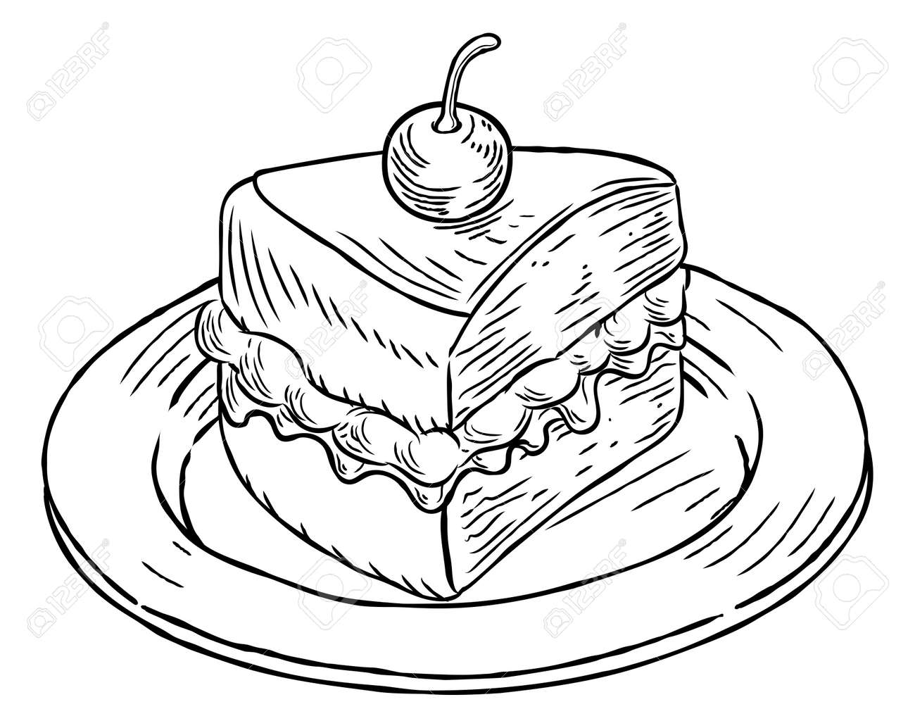 Cake Slice Vintage Retro Woodcut Style Royalty Free Cliparts ... for Drawing Cake Slice  66pct