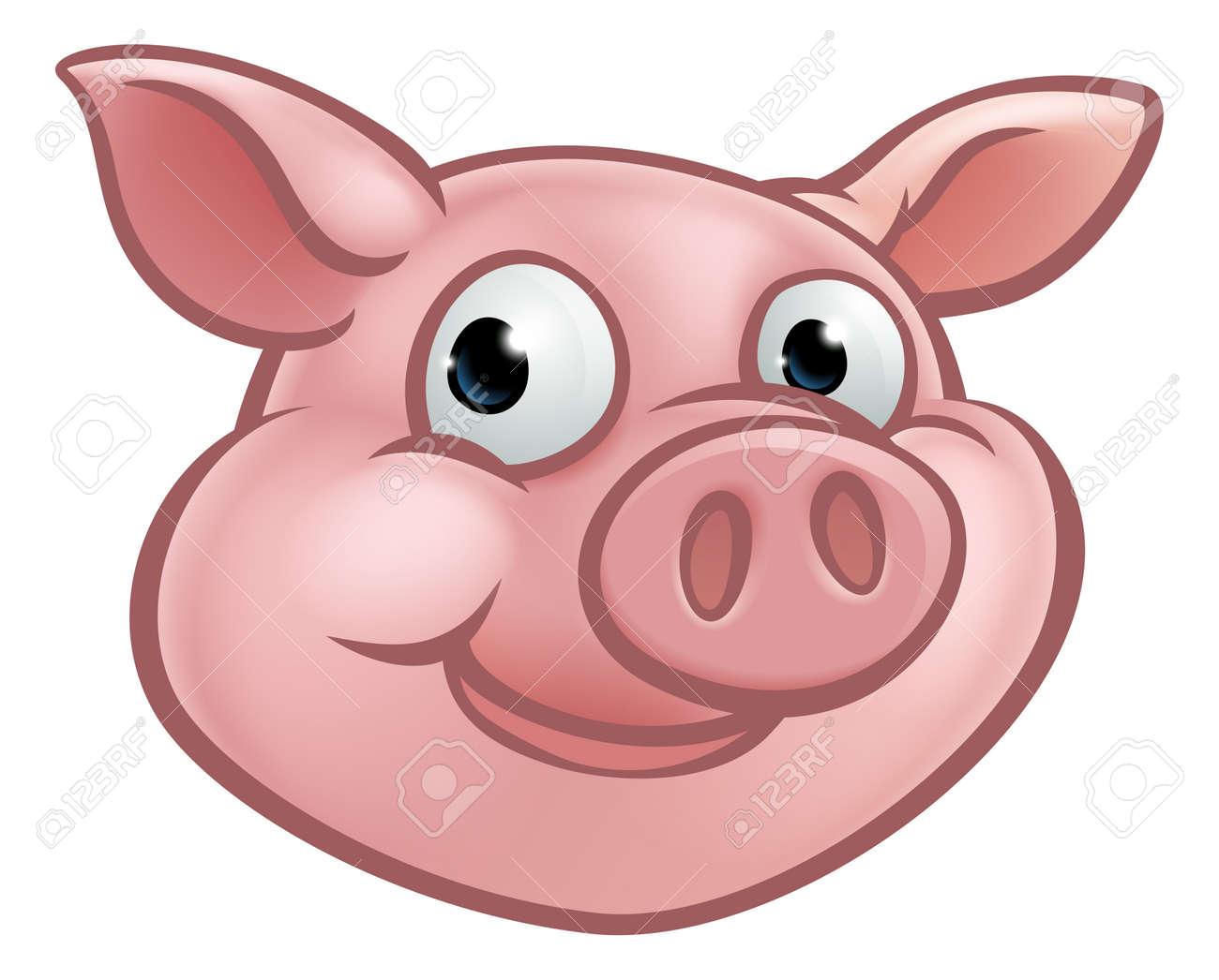A cute cartoon pig character mascot, vector illustration. - 89058290