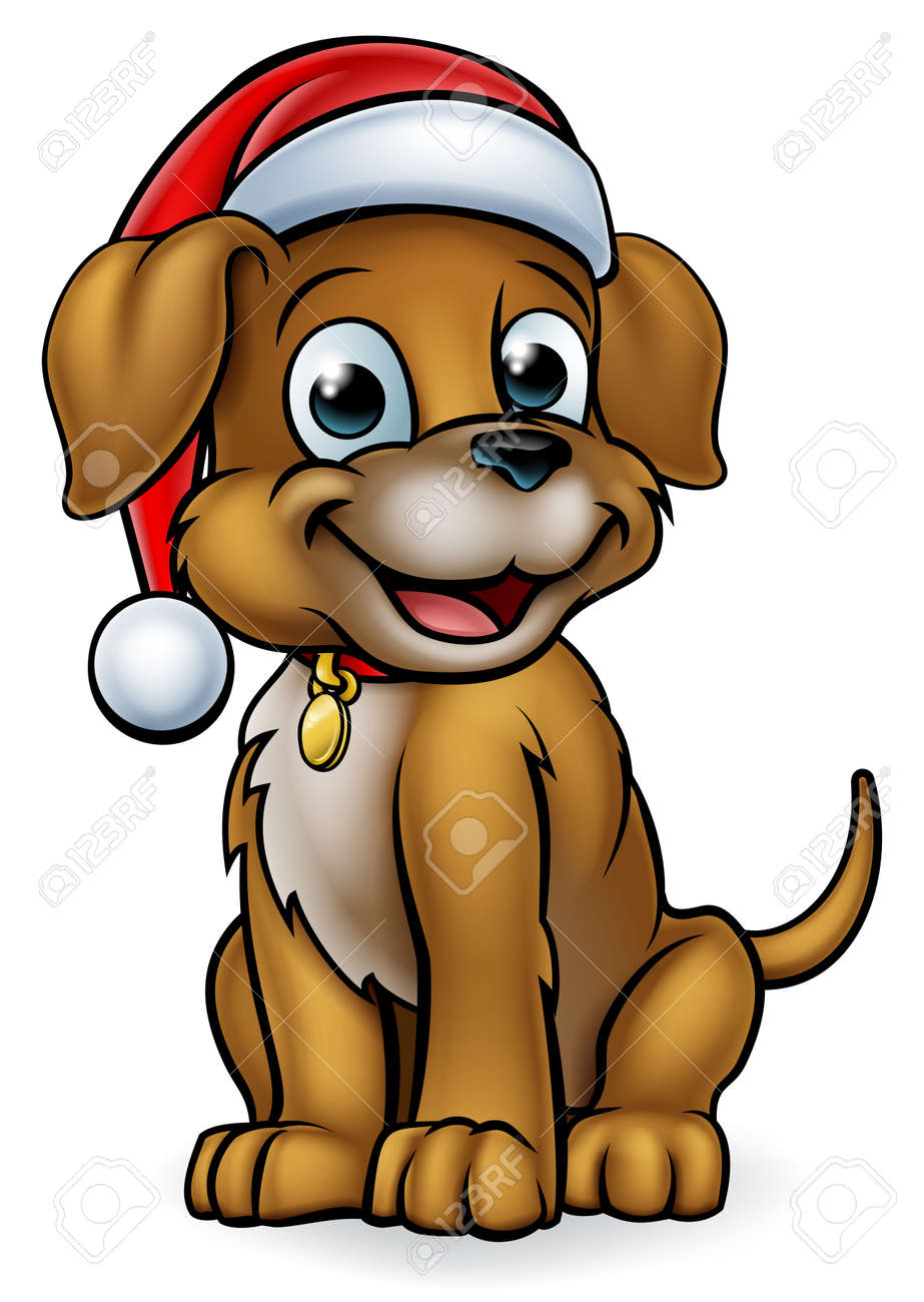 Cartoon Christmas Pet Dog Royalty Free Cliparts Vectors And Stock Illustration Image 90339724
