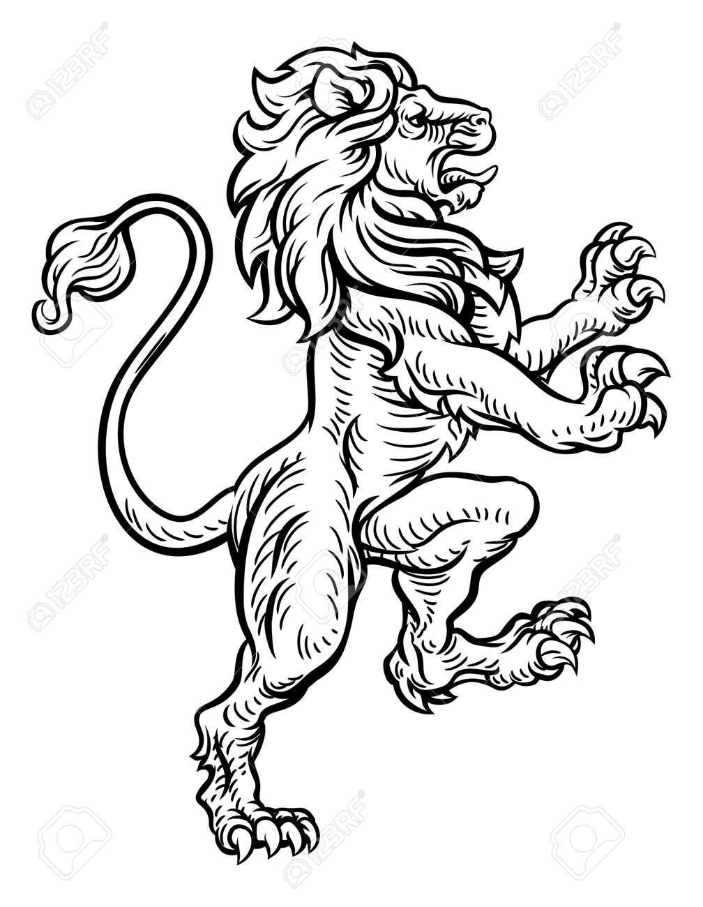 lion heraldic style drawing royalty free cliparts vectors and rh 123rf com heraldic clip art of bird heraldic clip art of bird