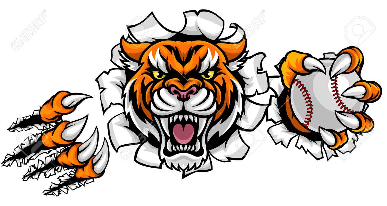 tigers baseball Vector - stock illustration, royalty free illustrations,  stock clip art icon, stock clipart icons, l… | School shirt designs,  Baseball vector, Image