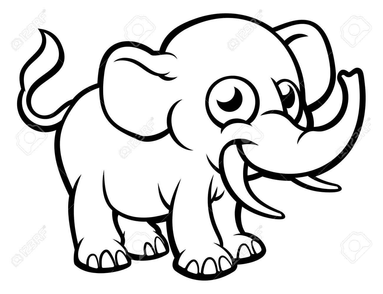 Un Elephant Animaux De Safari Dessin Anime Personnage De Dessin A