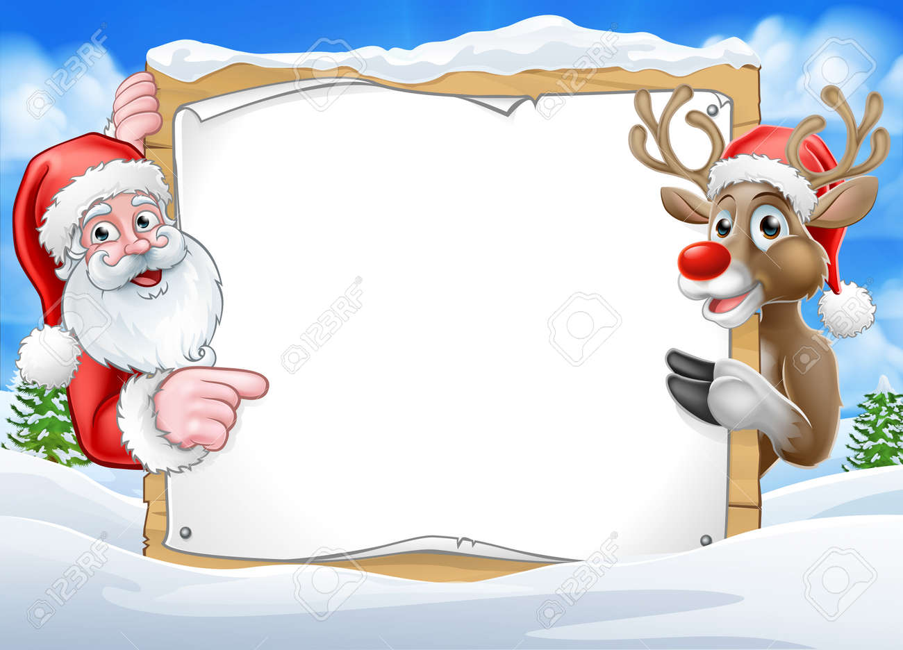Christmas Sign Reindeer and Santa Background - 90768829
