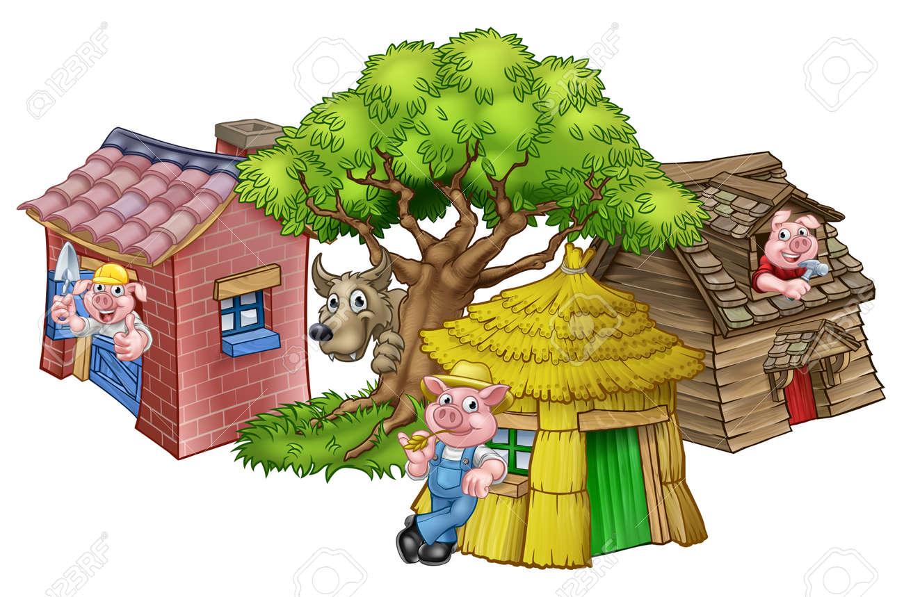 Uma Ilustração Da História De Contos De Fadas Das Três Porquinhos Dos Personagens De Desenhos Animados Dos 3 Porquinhos Com Suas Casas De Palha
