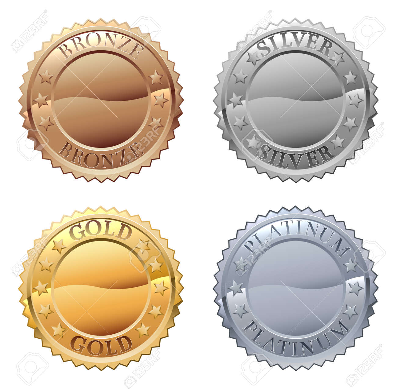 A medals icon set with platinum, gold, silver and bronze badges - 106170654