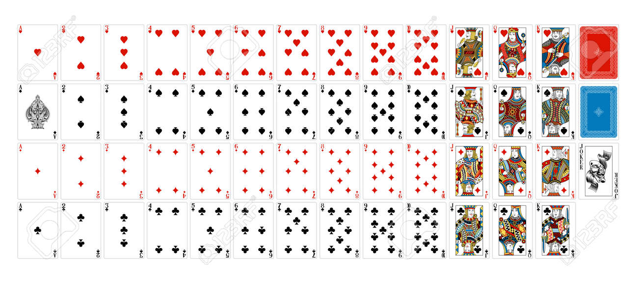 A truly full, complete deck of playing cards. All cards including joker plus and backs. An original design in a classic vintage style. Standard poker size. - 111520245