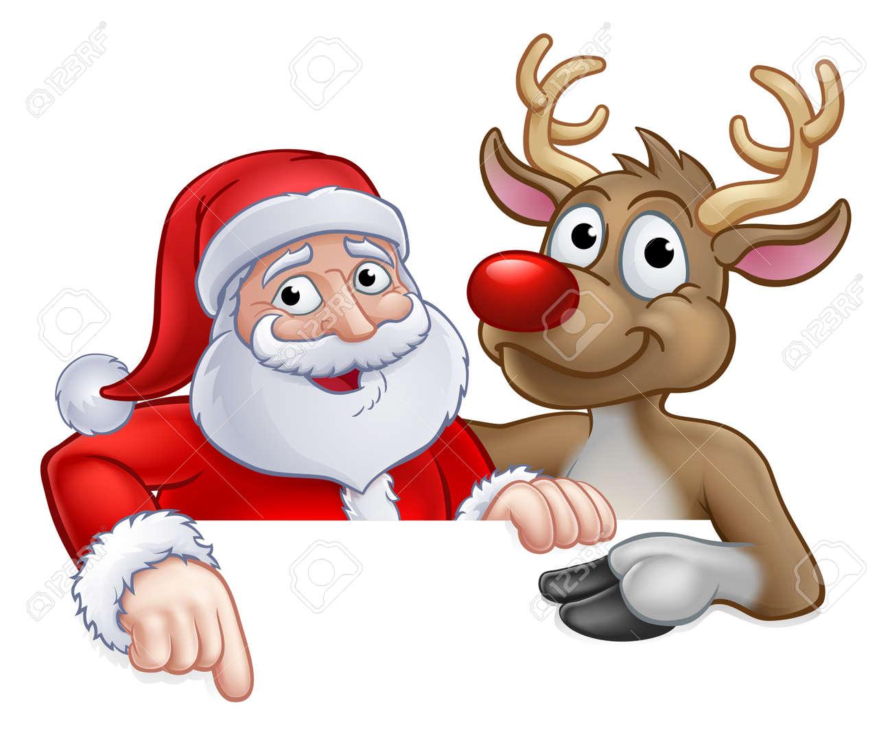 Christmas Cartoon Images Clip Art.Santa Claus And Reindeer Christmas Cartoon Characters Peeking