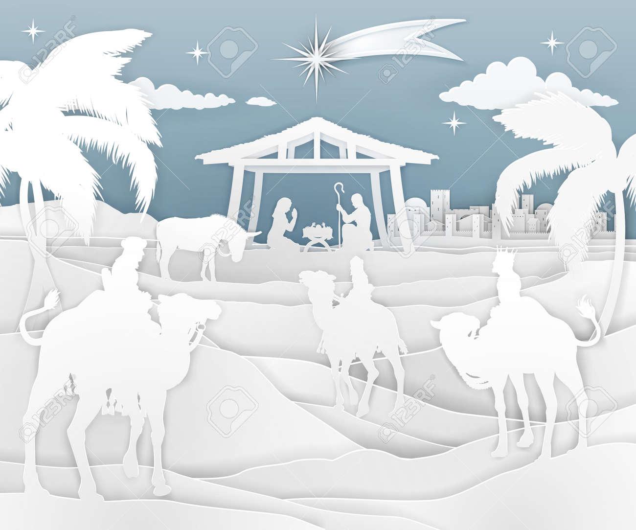 Nativity Christmas Scene Paper Style - 109221284