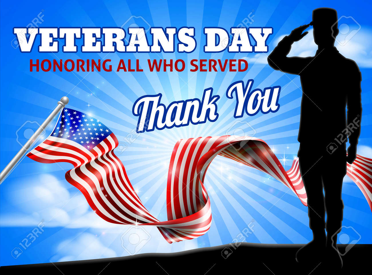 American Flag Veterans Day Soldier Saluting - 111310759