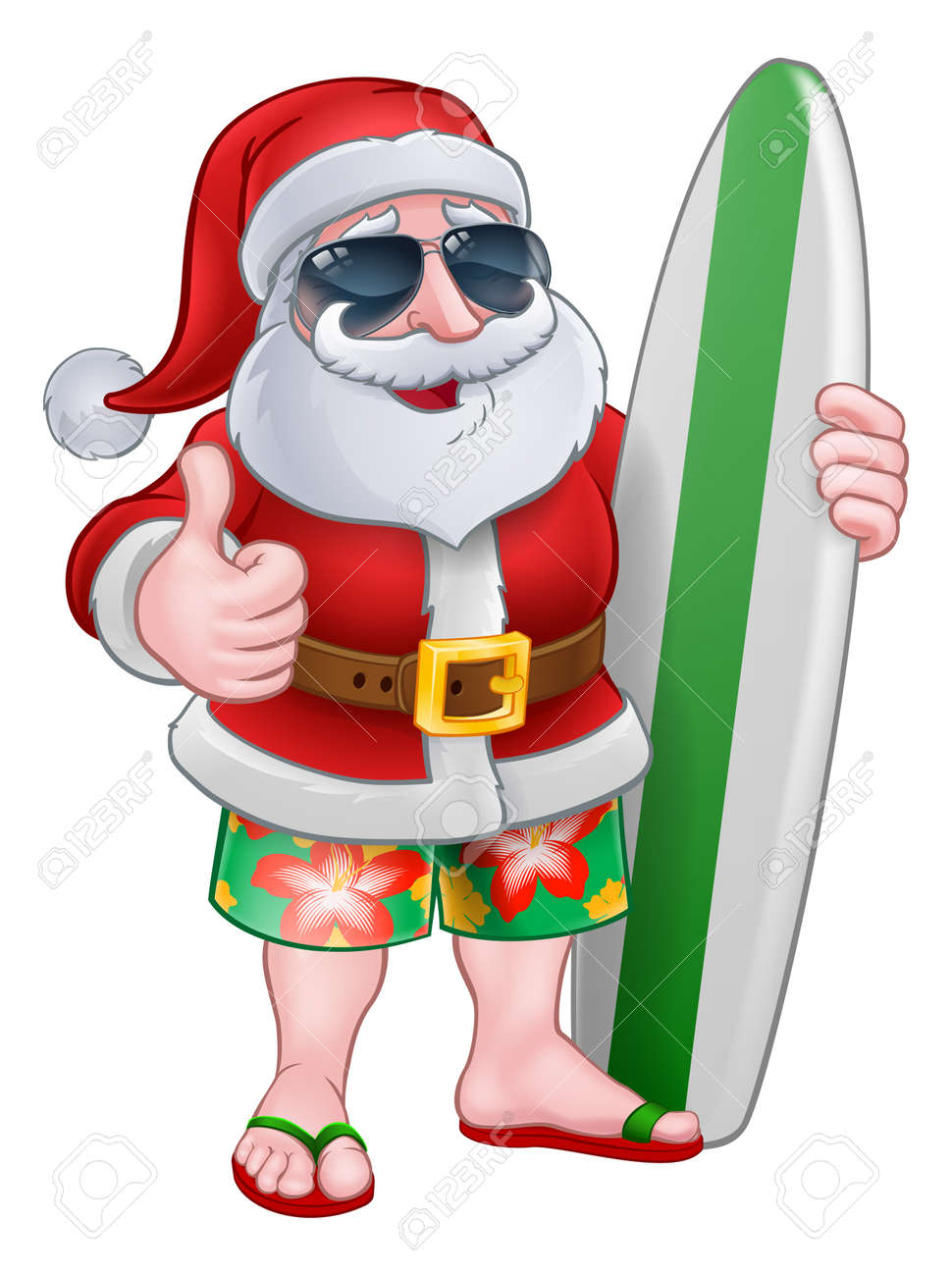 Cool Santa Claus in shorts and flip flops wearing shades or sunglasses and holding his surfboard, Christmas cartoon. - 121753271
