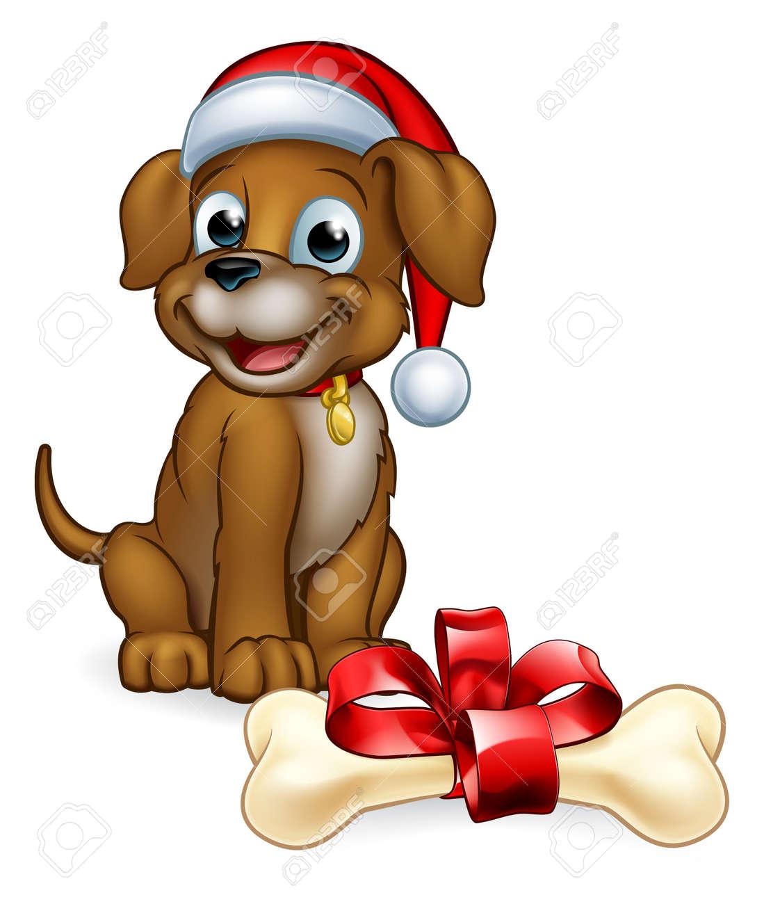 A Pet Dog In A Christmas Santa Claus Hat Cute Cartoon Character Royalty Free Cliparts Vectors And Stock Illustration Image 112347241