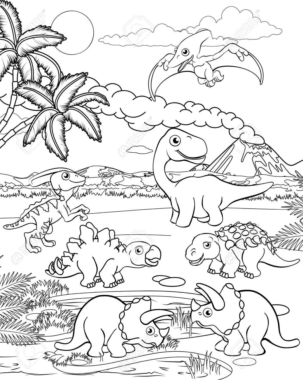 A dinosaur cartoon cute animal background prehistoric landscape coloring outline scene. - 121753374