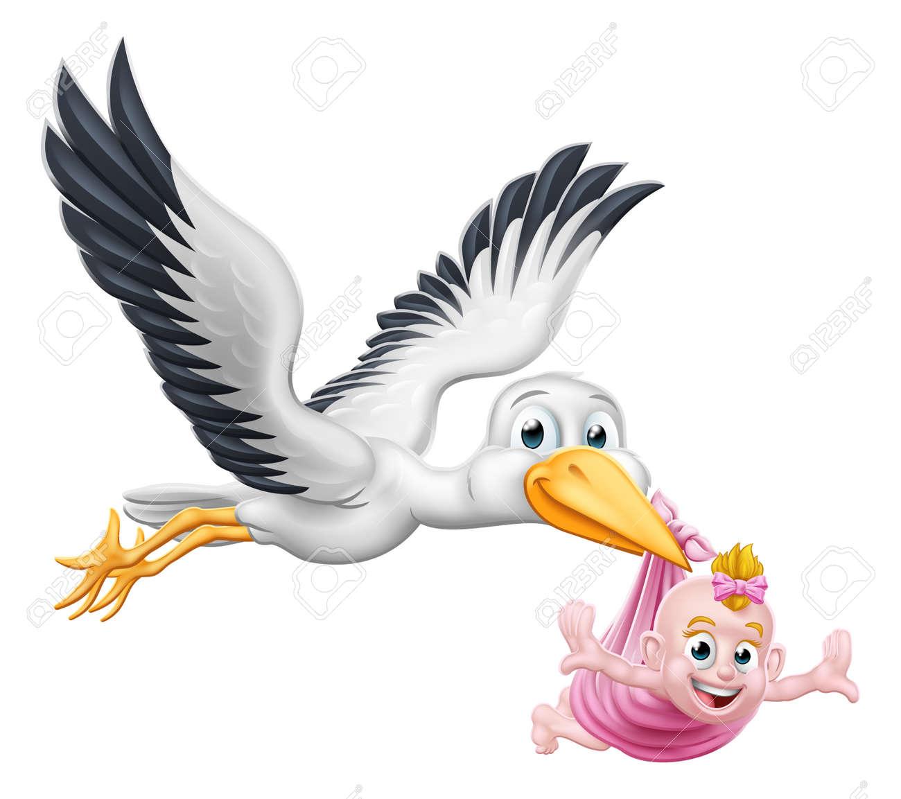 Stork Cartoon Pregnancy Myth Bird With Baby - 121818629