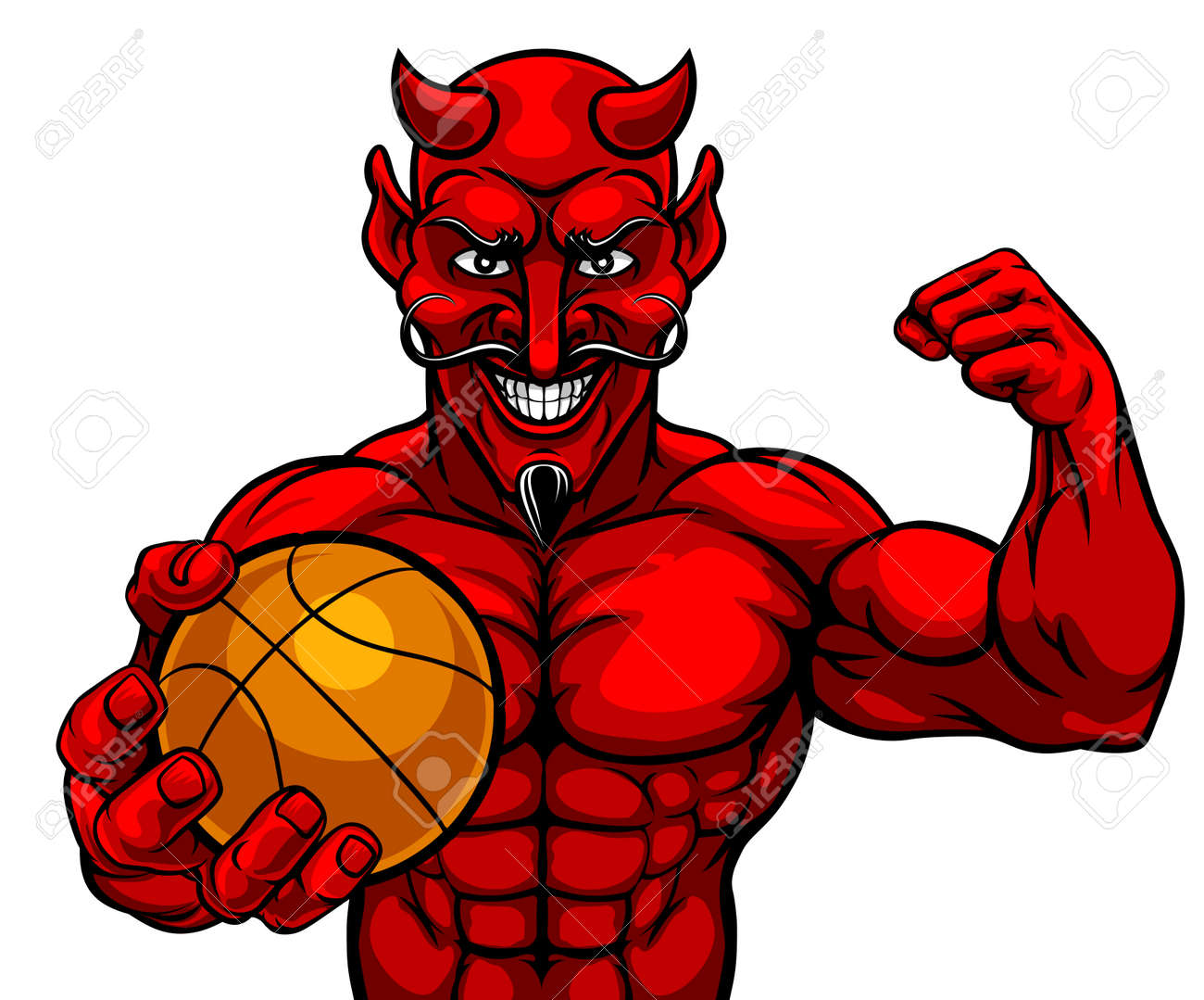 Devil Basketball Sports Mascot Holding Ball - 122241261