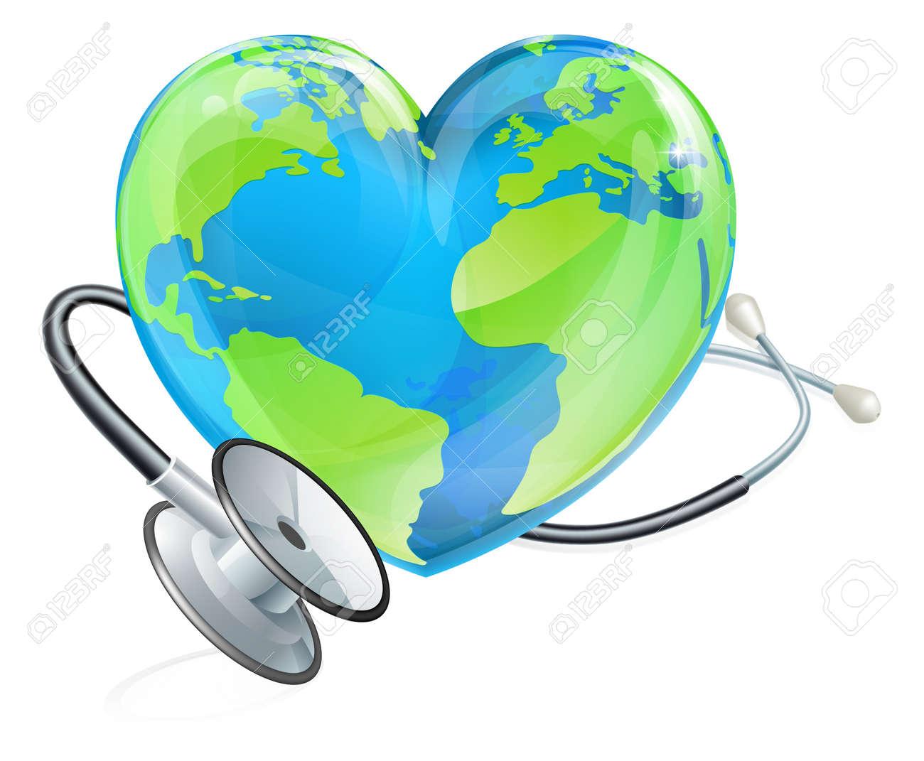 Health Concept Stethoscope Heart Earth World Globe - 123898364