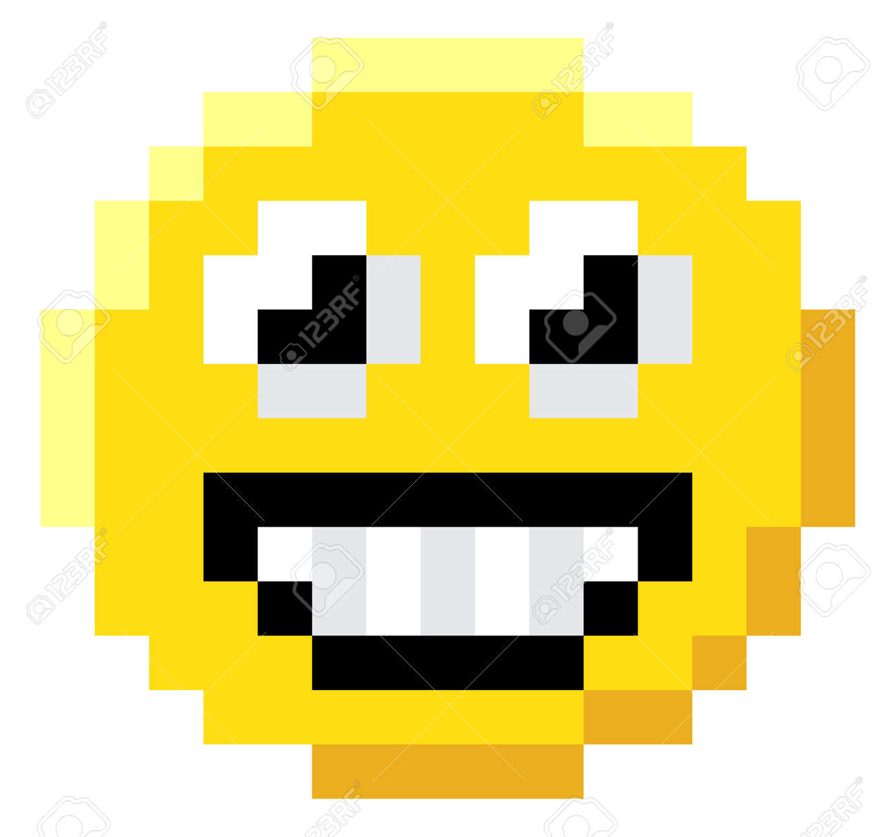 An Emoji Emoticon Face Icon In A Pixel Art 8 Bit Video Game Style
