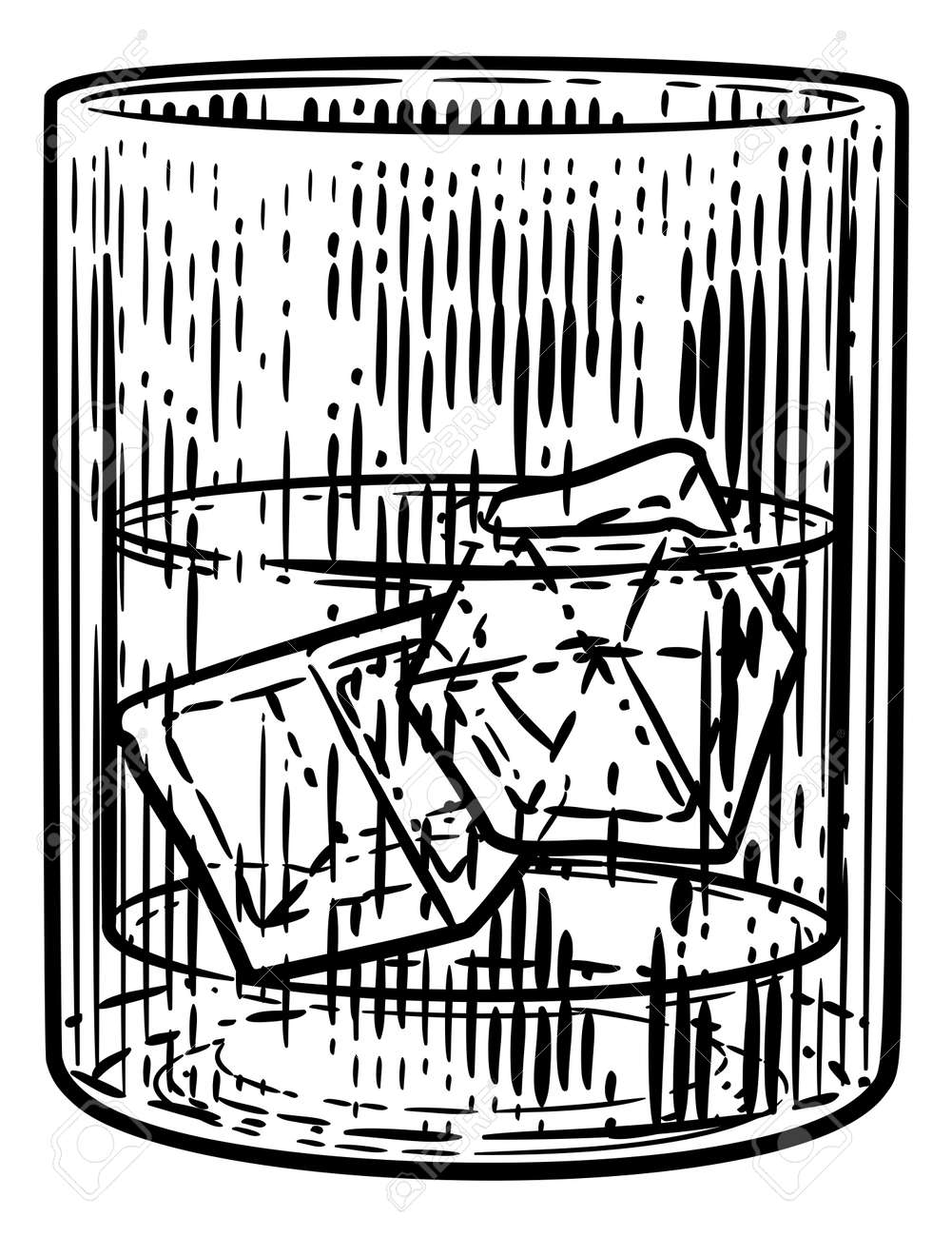Drink with Ice in Glass Woodcut Engraved Etching - 132315694