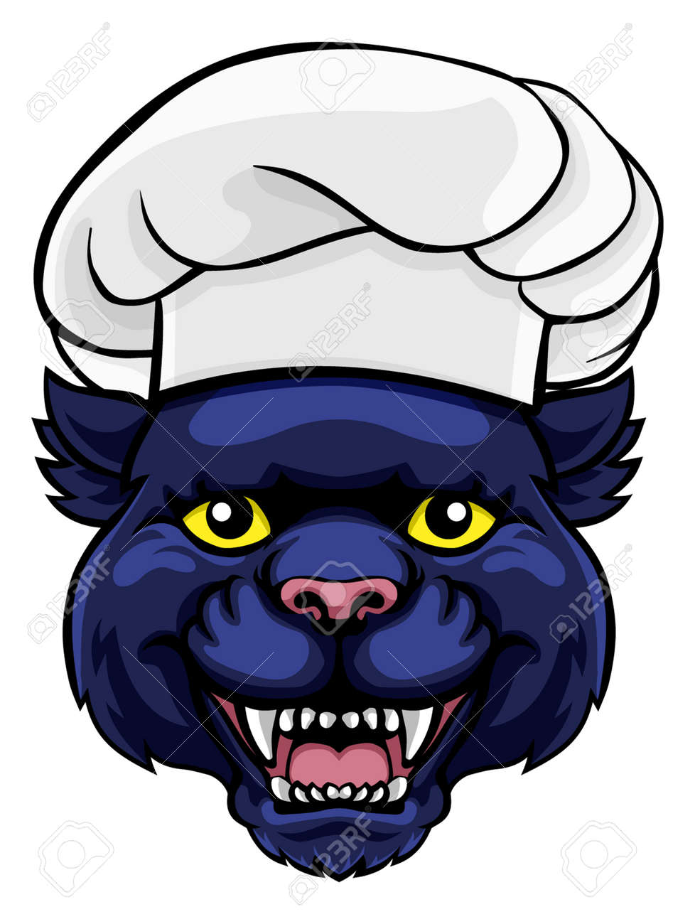Panther Chef Mascot Cartoon Character - 130165778