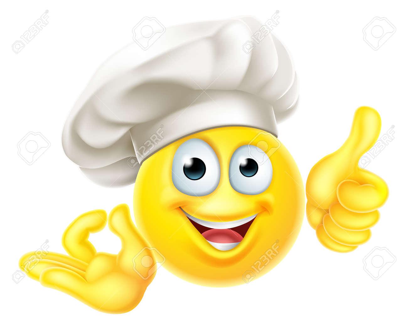 Emoji Chef Cook Cartoon OK Thumbs Up - 131701049