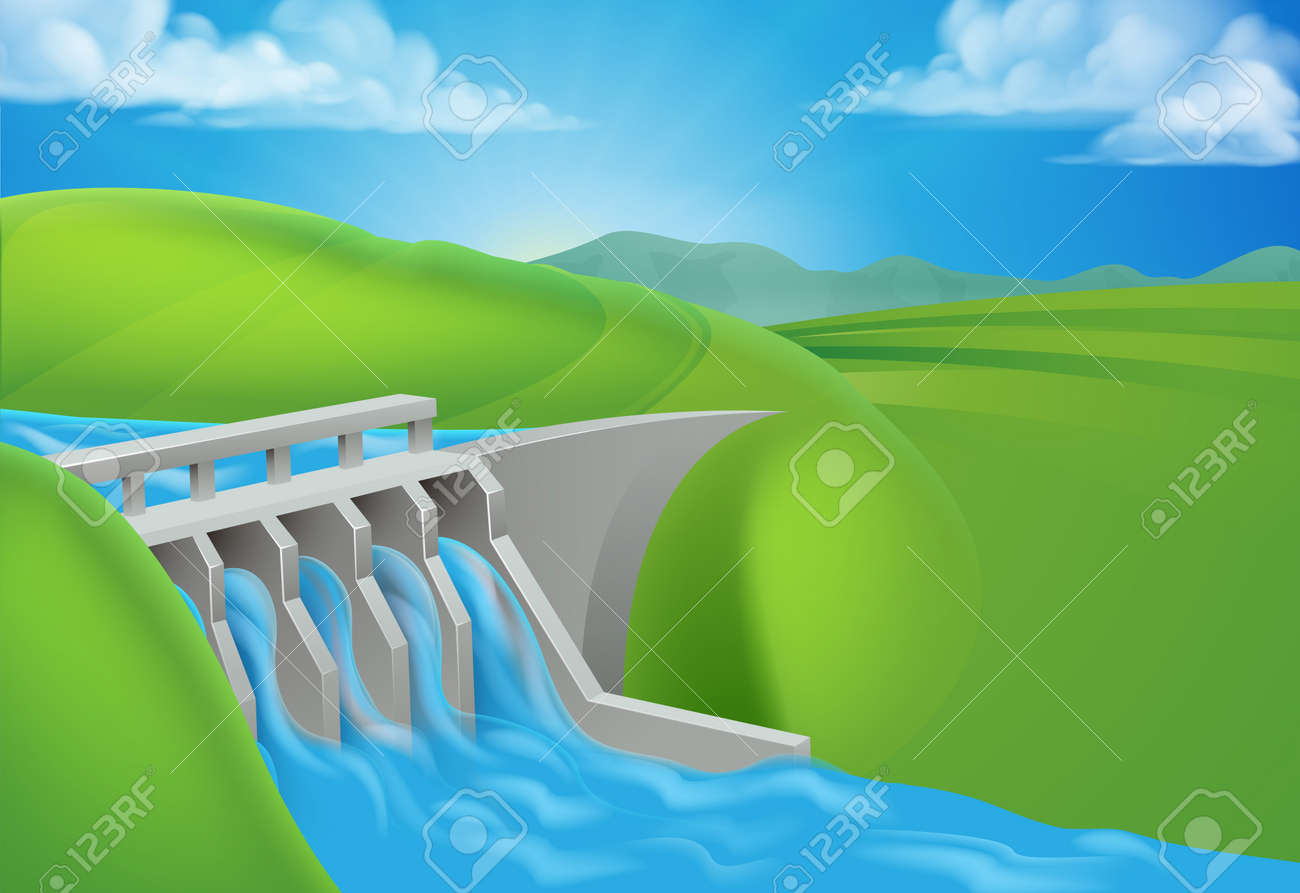 Hydro Water Power Dam Generating Electricity - 131941403