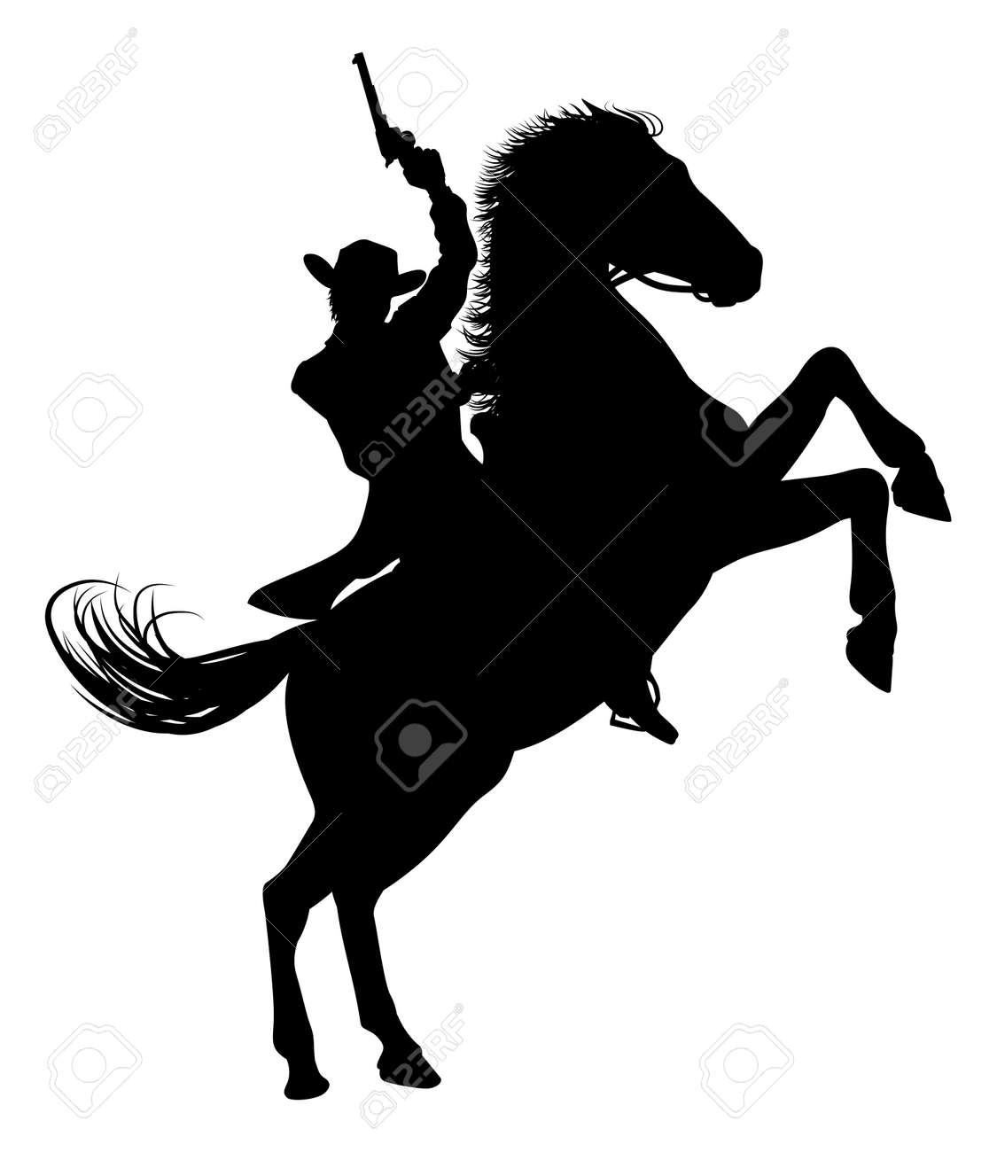 Cowboy Riding Horse Silhouette Royalty Free Cliparts Vectors And Stock Illustration Image 132783914