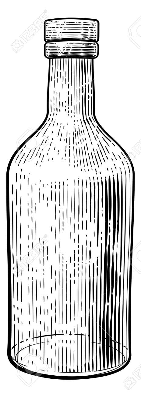 Glass Drink Bottle Vintage Woodcut Etching Style - 132863398