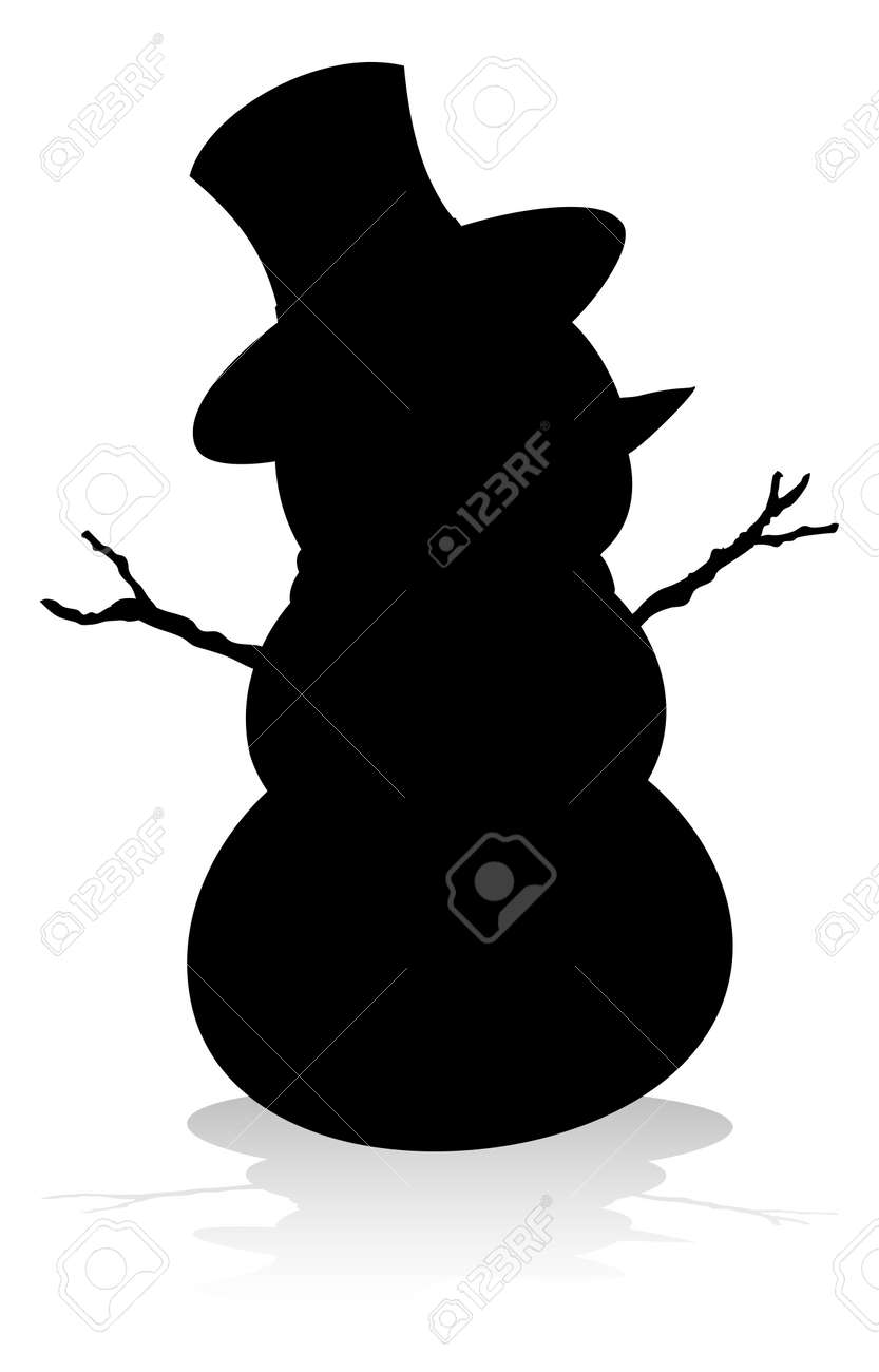Silhouette Christmas Snowman Royalty Free Cliparts Vectors And Stock Illustration Image 134811745