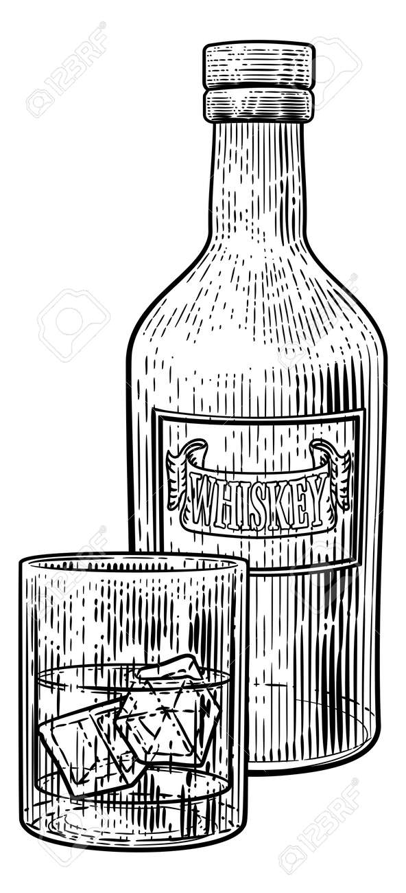 Whiskey Bottle and Glass with Ice Engraving Style - 134811751