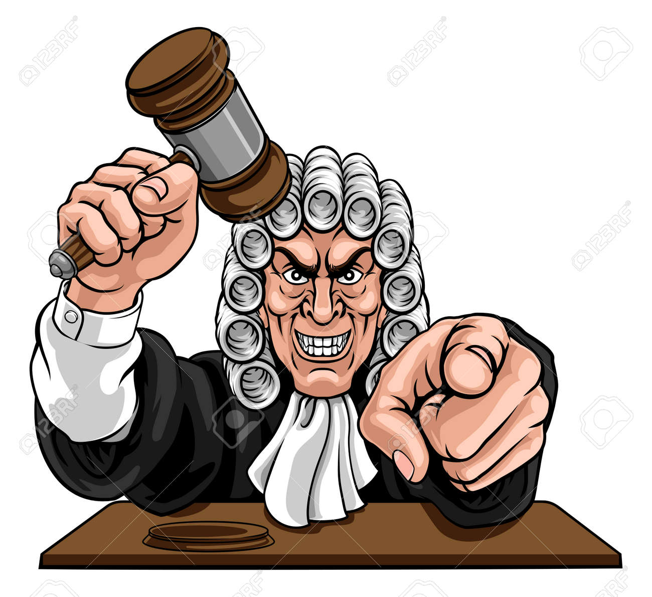 An angry or mean judge cartoon character pointing and holding his gavel hammer - 134903312