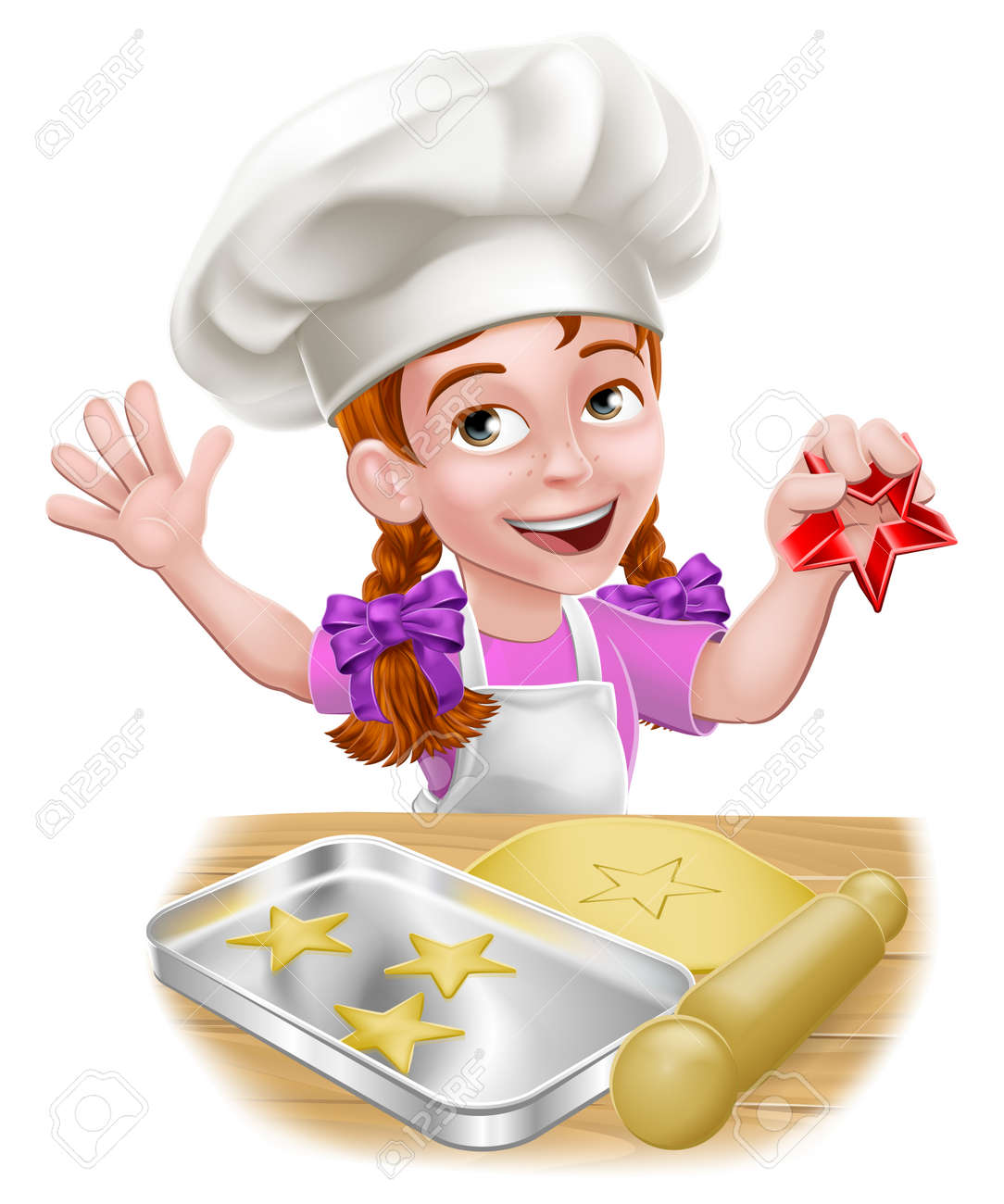 Girl Child Chef Kid Cartoon Character Baking - 135314147