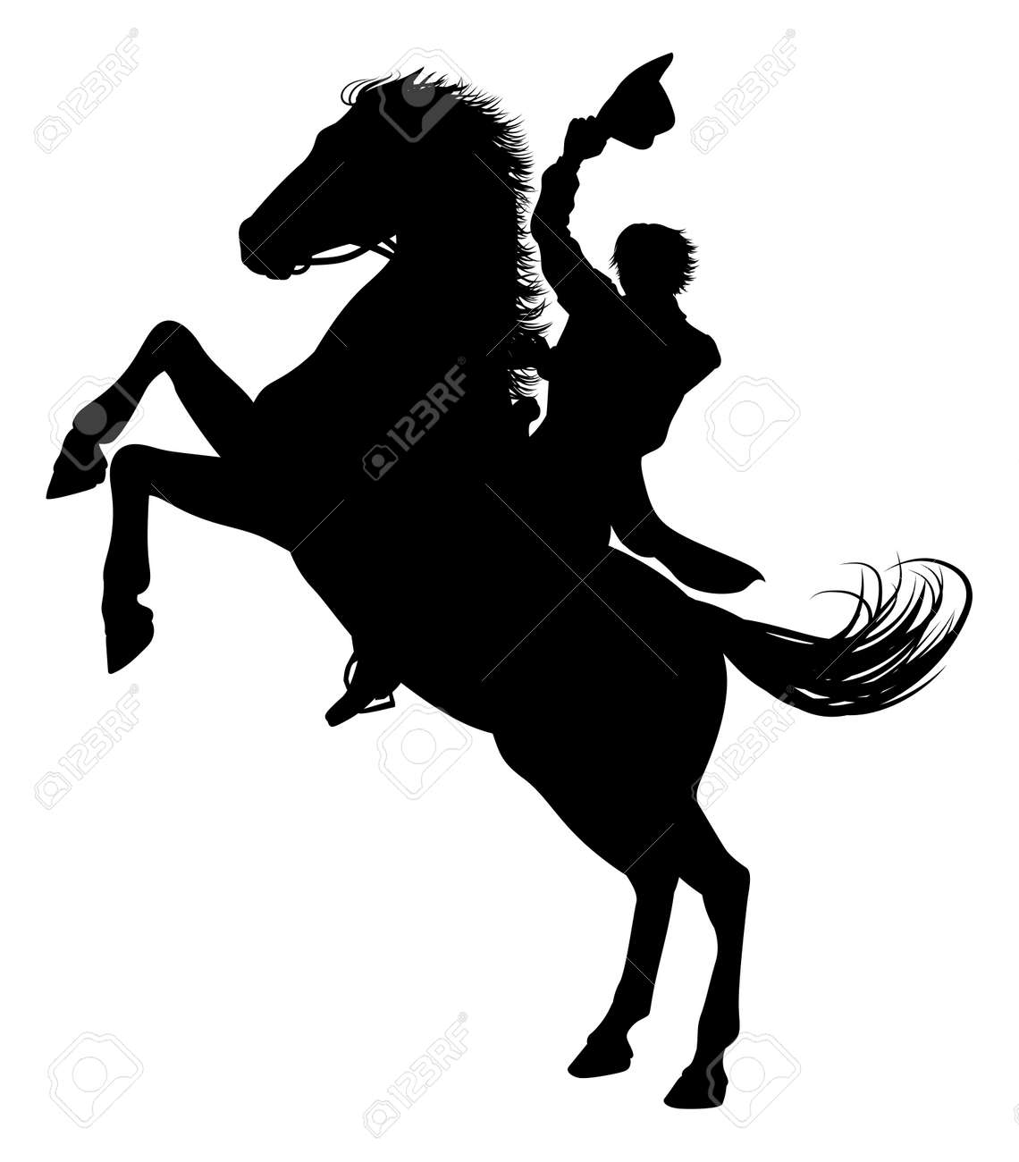 Cowboy Riding Horse Silhouette Royalty Free Cliparts Vectors And Stock Illustration Image 139485821