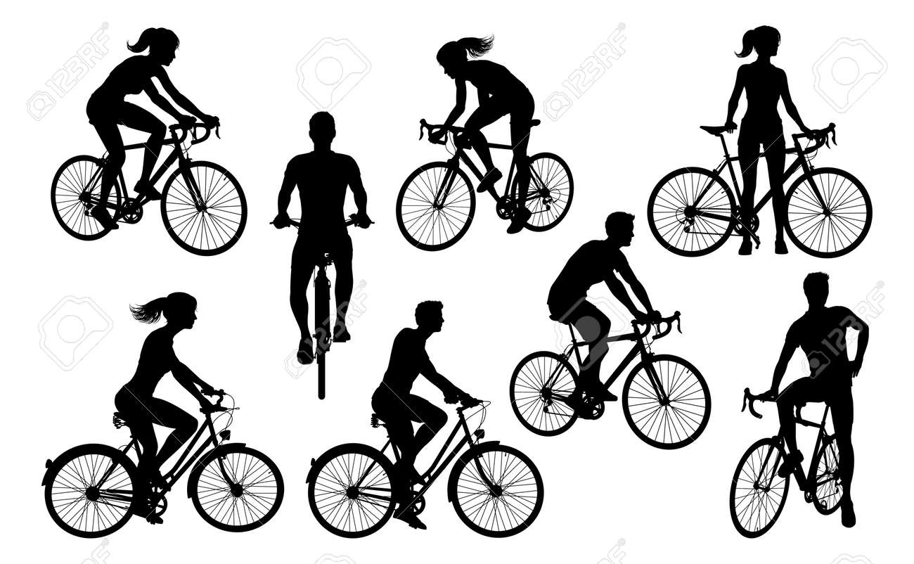 Bicycle Riding Bike Cyclists Silhouettes Set - 141290227