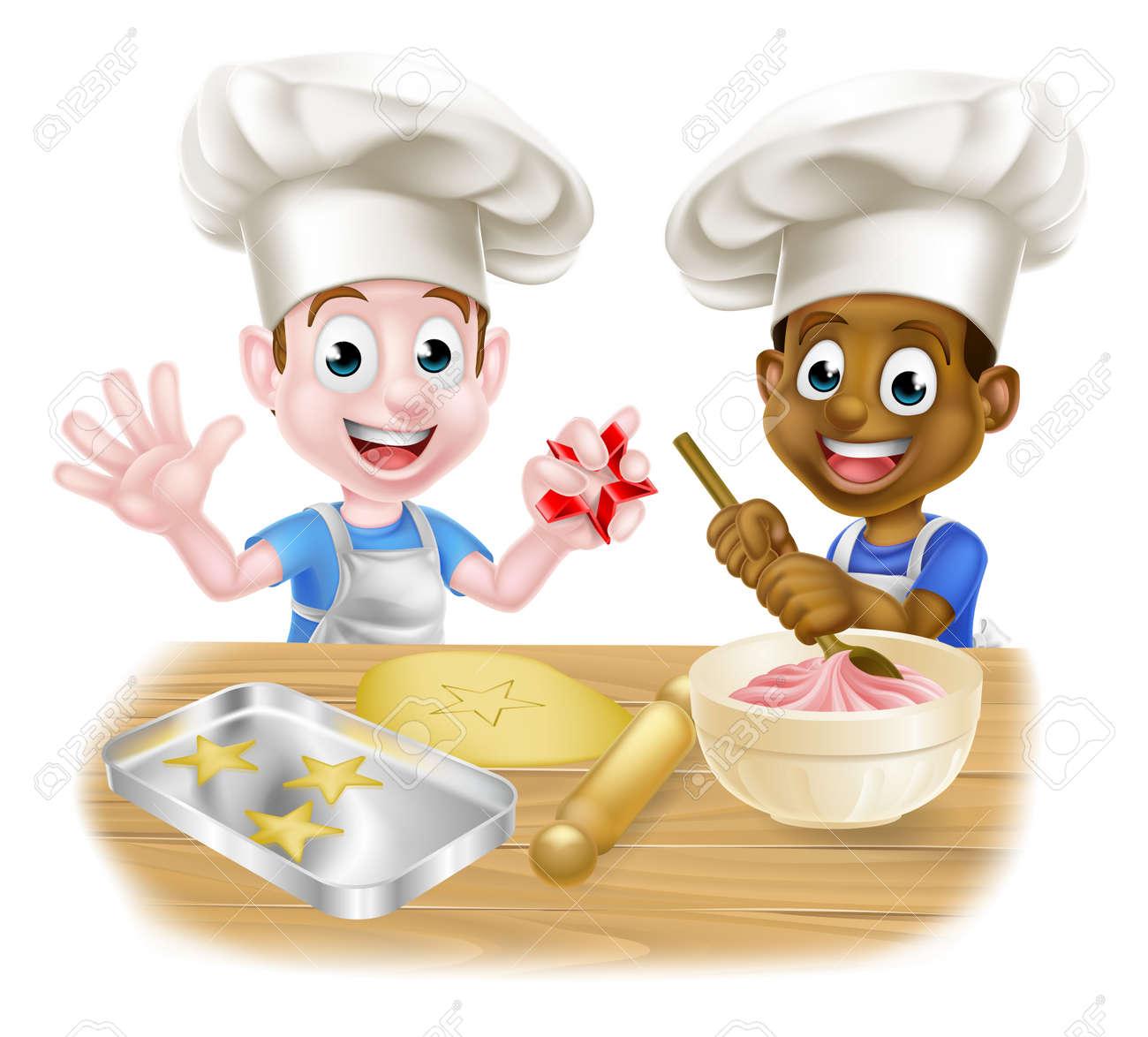 Cartoon Boys Baking Cakes - 142984027