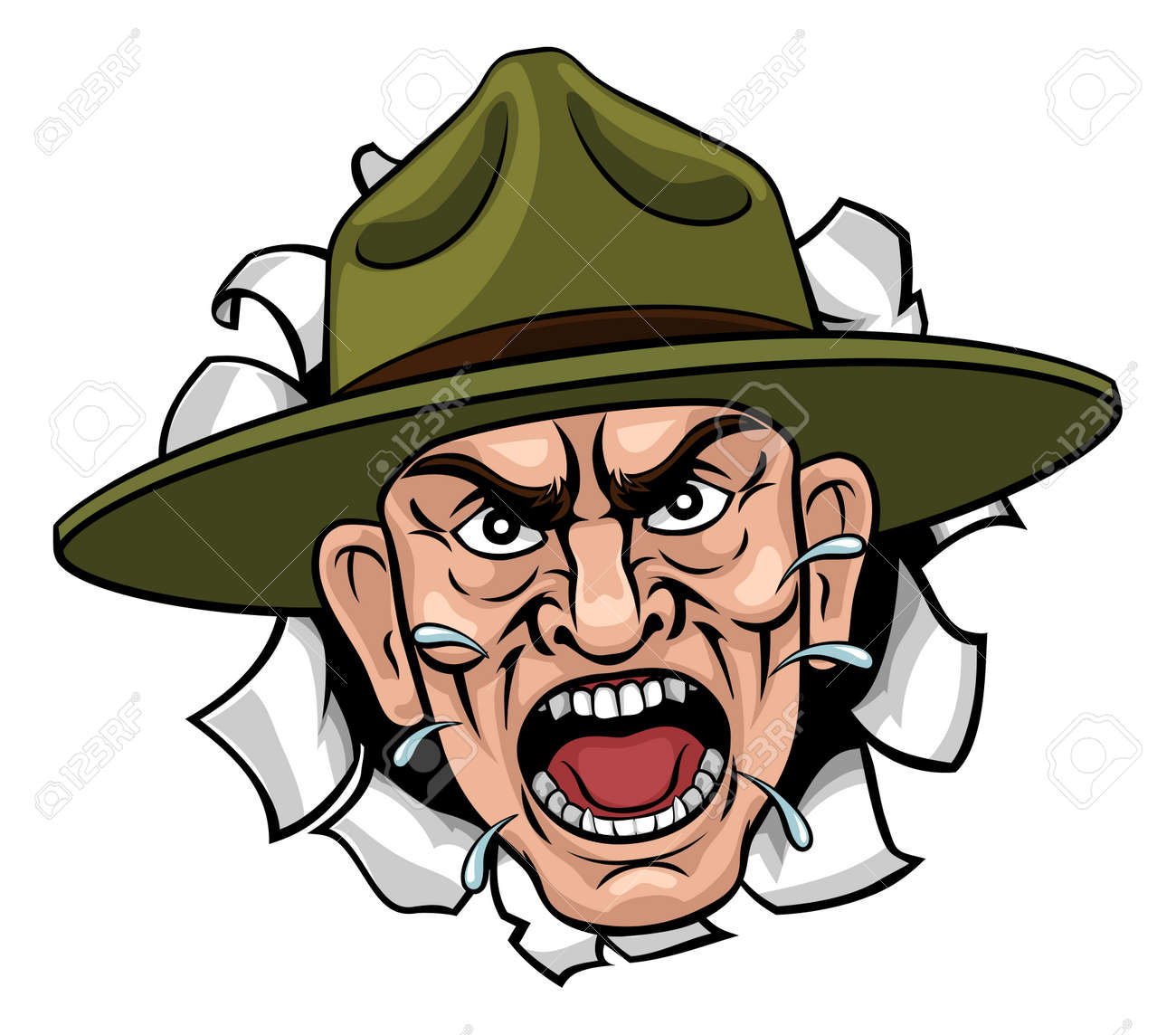 Angry Army Bootcamp Drill Sergeant Cartoon - 143435215