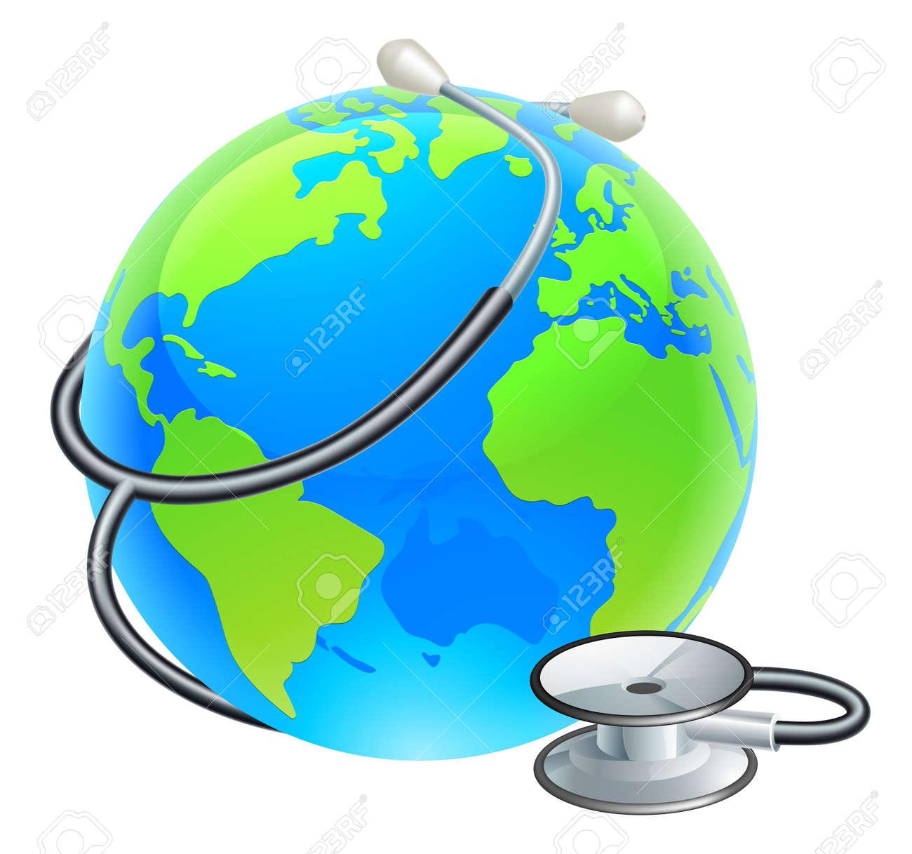 Earth World Globe With Stethoscope - 146239438