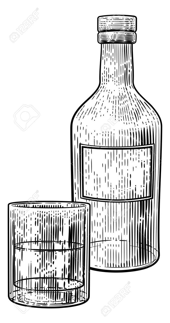 Drinks Glass and Bottle in Vintage Woodcut Style - 146949166