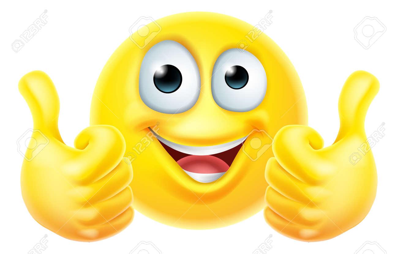 Thumbs Up Emoticon Emoji Face Cartoon Icon - 153665367
