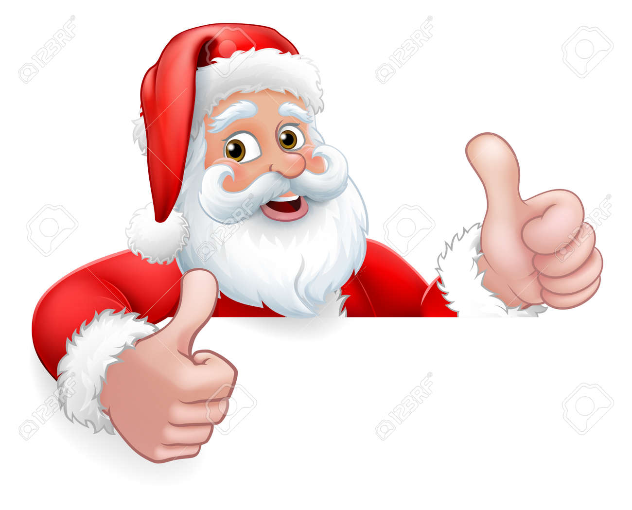 Santa Claus Christmas Peeking Thumbs Up Cartoon - 154268682