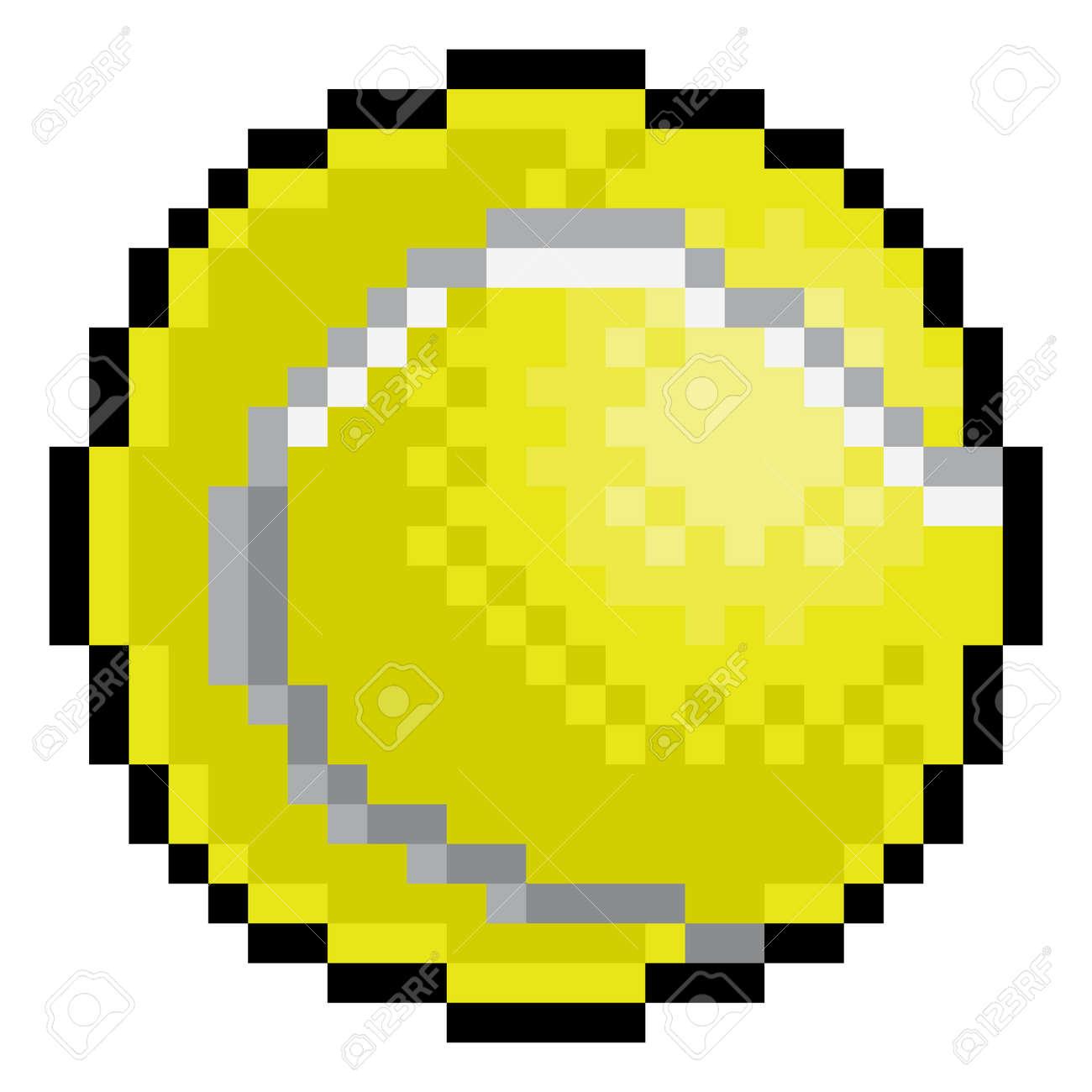 Tennis Ball Pixel Art Eight Bit Sports Game Icon - 155227444