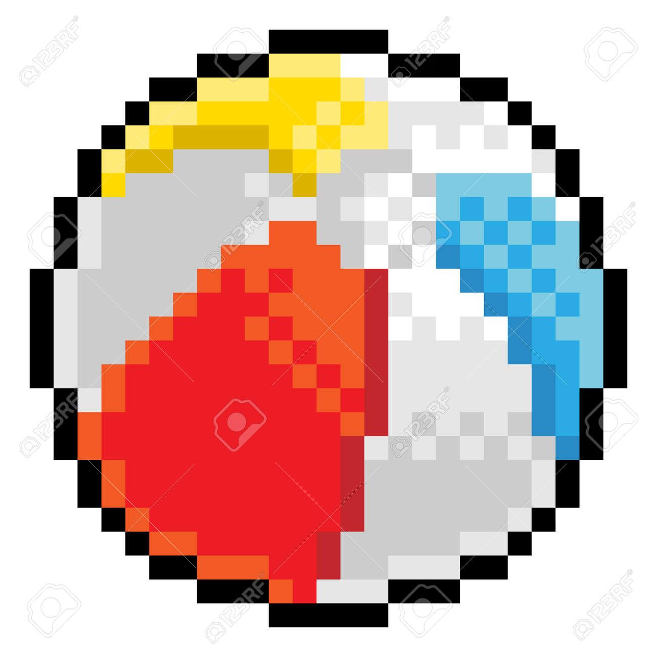Beach Ball Pixel Art Eight Bit Game Icon - 155362922