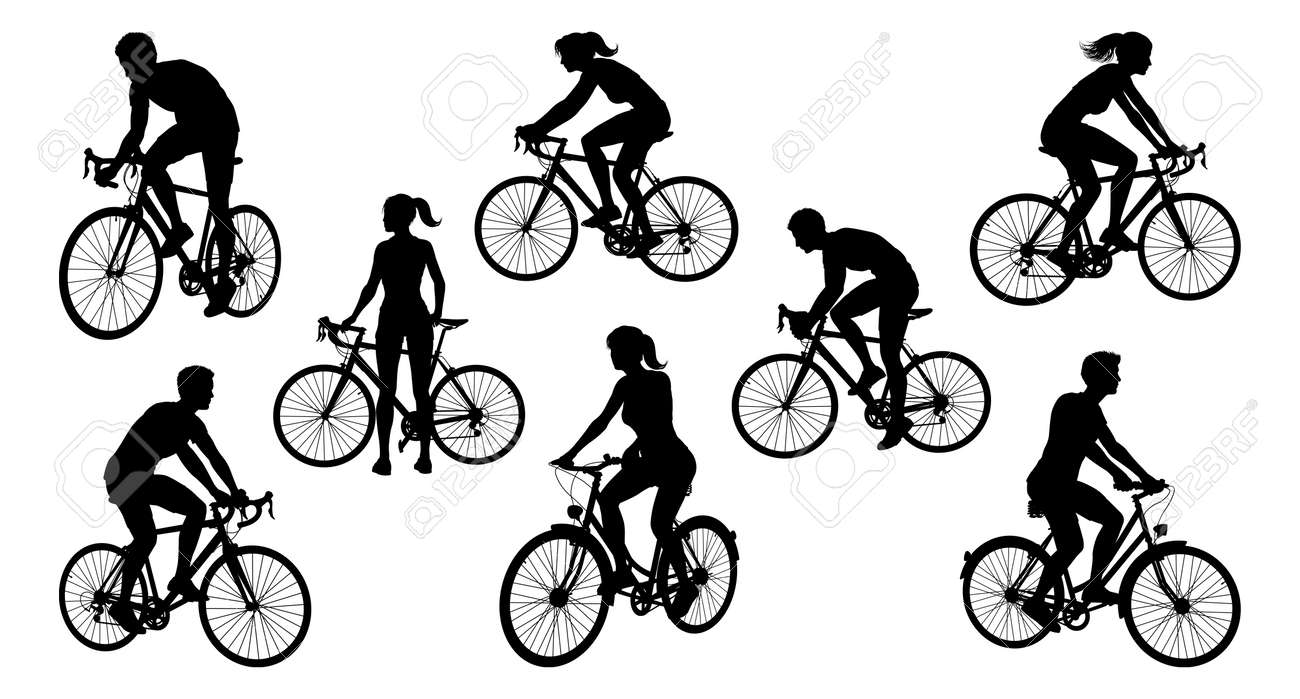 Bicycle Riding Bike Cyclists Silhouettes Set - 158482052