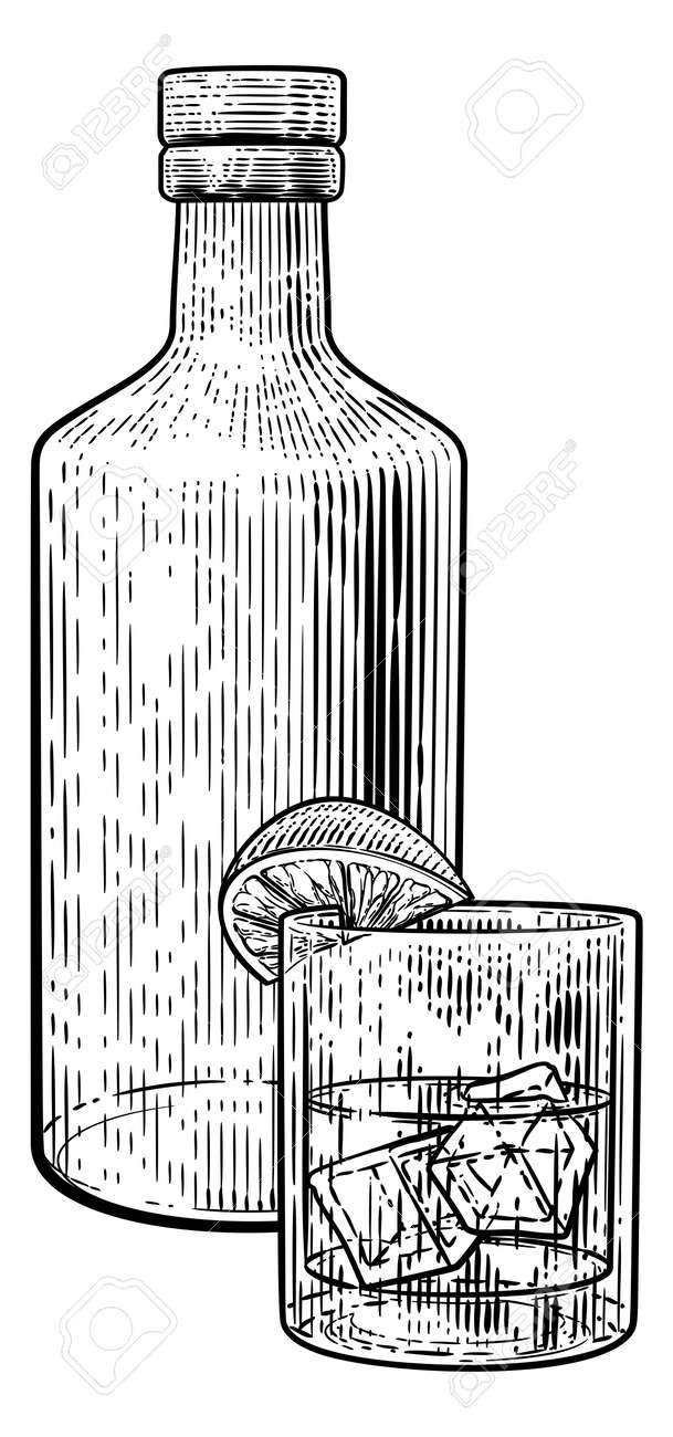 Cocktail Bottle and Glass with Ice Vintage Woodcut - 166549922