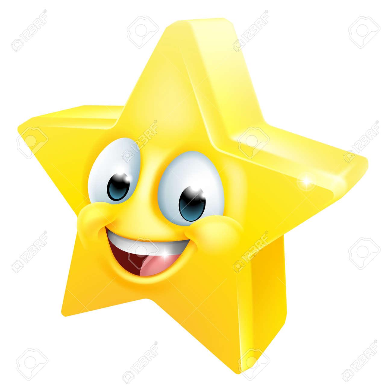 Star Happy Emoticon Cartoon Face - 168171491