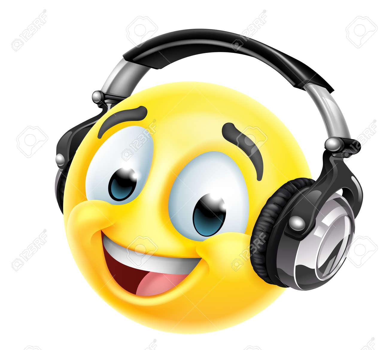 Cartoon Emoticon Face Icon With Music Headphones - 168332647