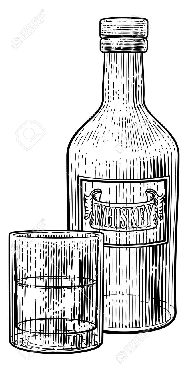 Whisky Bottle and Glass Drink Engraving Etching - 169975646