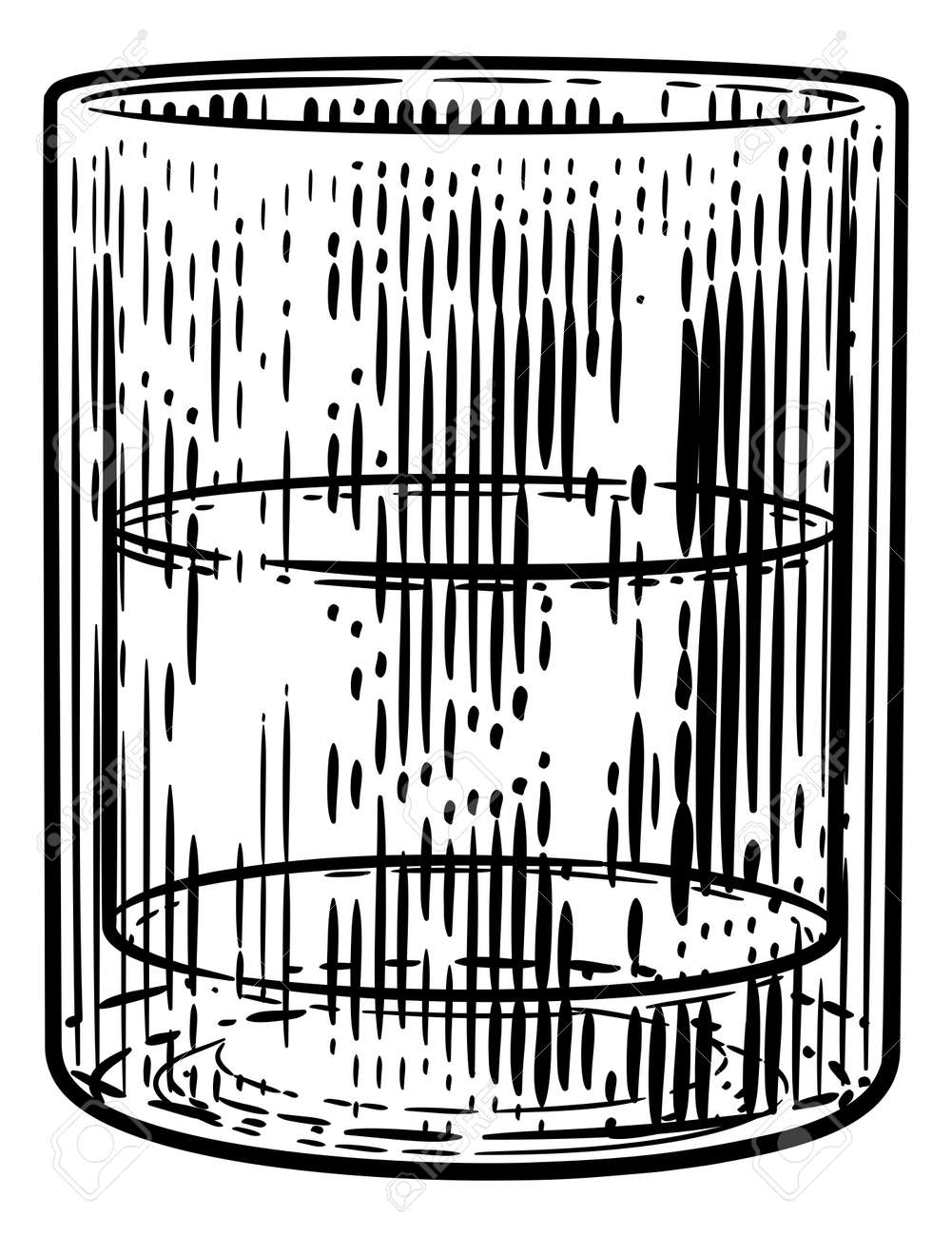 Drinks Glass in Woodcut Engraved Etching Style - 171262283