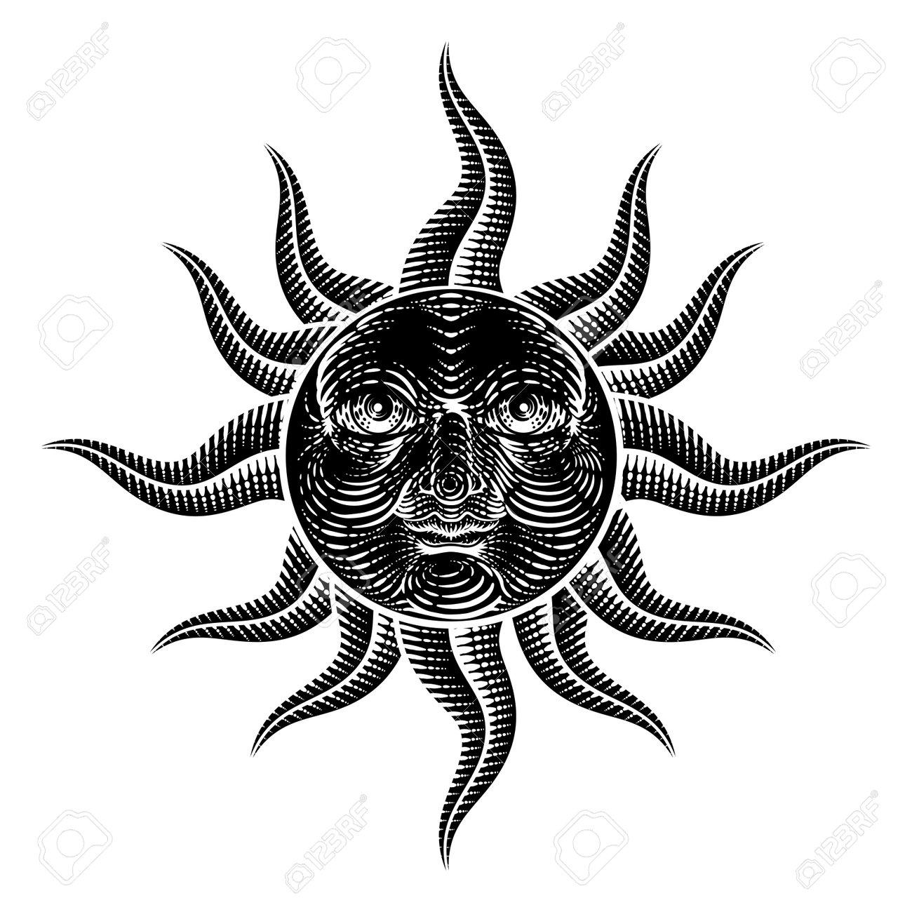 Sun Face Woodcut Drawing Retro Vintage Engraving - 171717424