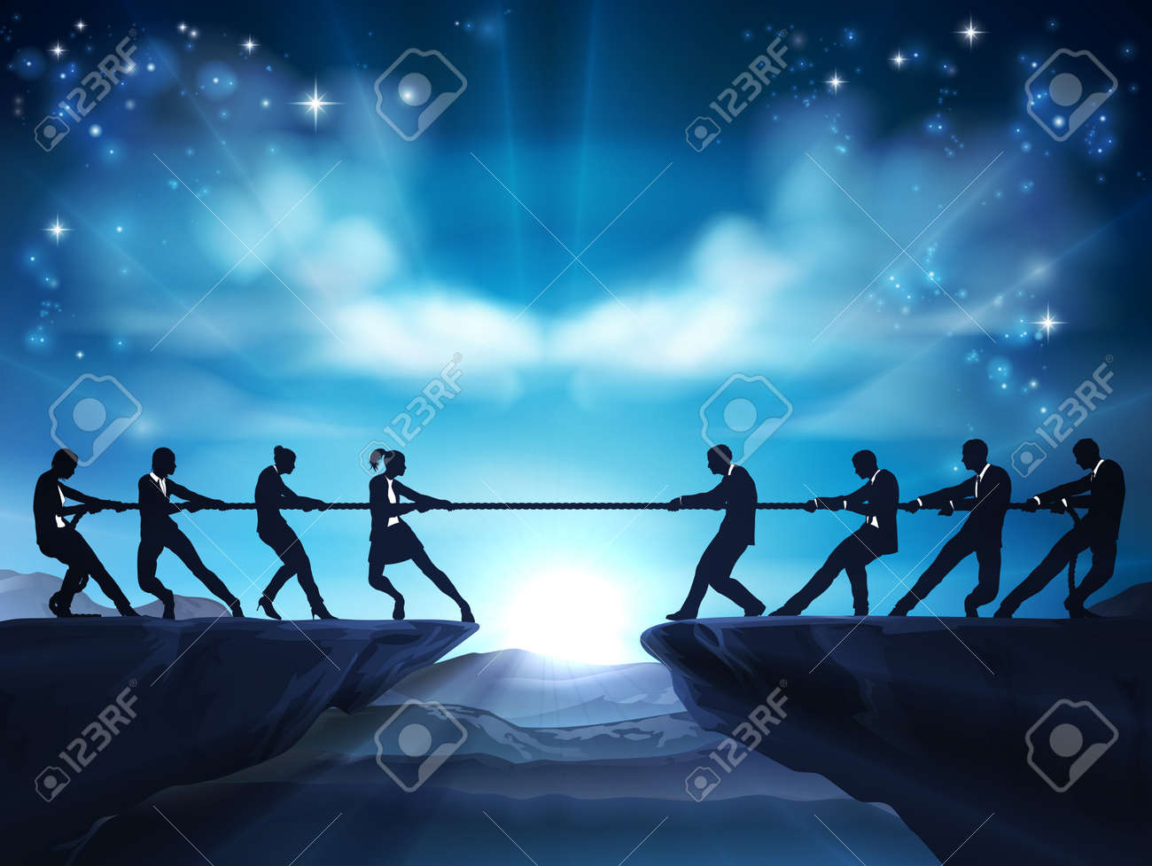 Tug of War Rope Pulling Silhouette Business People - 171956970