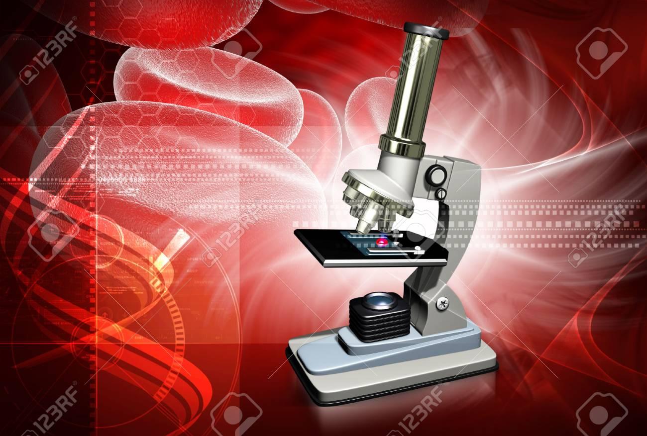 Digital illustration of microscope in colour background Stock Illustration - 5203027